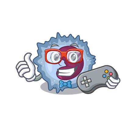 Smiley gamer monocyte cell cartoon mascot style