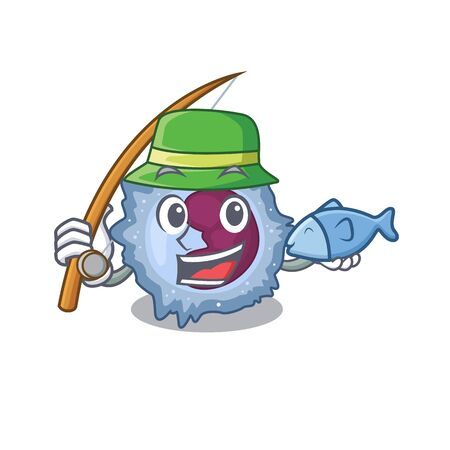 A Picture of happy Fishing monocyte cell design Vector Illustration
