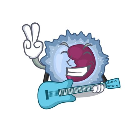 A mascot of monocyte cell performance with guitar. Vector illustration Vector Illustration