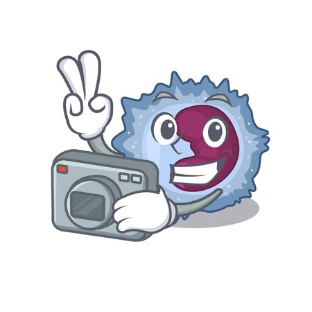 Cool Photographer monocyte cell character with a camera