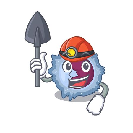 Cool clever Miner monocyte cell cartoon character design Illustration
