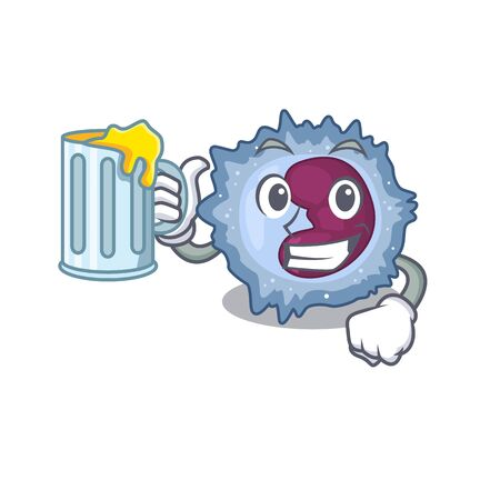 Happy monocyte cell mascot design with a big glass