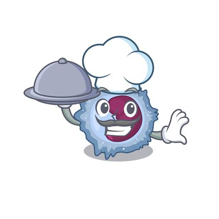 cartoon design of monocyte cell as a Chef having food on tray. Vector illustration