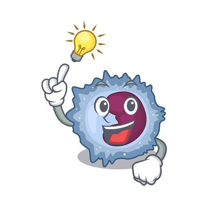 Have an idea gesture of monocyte cell cartoon character design. Vector illustration