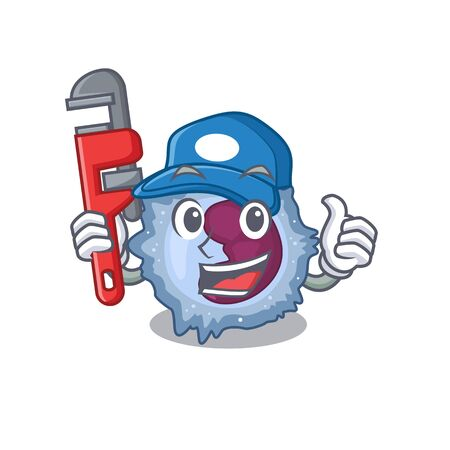 Cool Plumber monocyte cell on mascot picture style