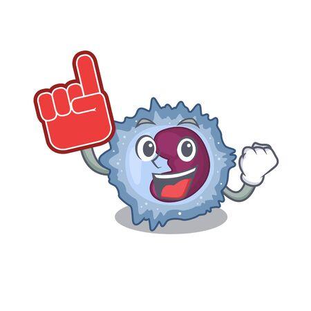 Monocyte cell mascot cartoon style holding a Foam finger