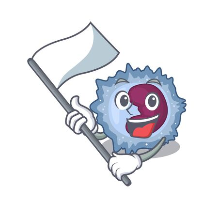 Funny monocyte cell cartoon character style holding a standing flag Illustration
