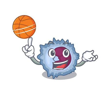A mascot picture of monocyte cell cartoon character playing basketball. Vector illustration