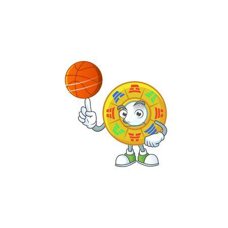 a Healthy chinese circle feng shui cartoon character playing basketball. Vector illustration