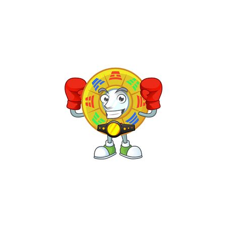 Happy Face Boxing chinese circle feng shui cartoon character design. Vector illustration Archivio Fotografico - 138260825