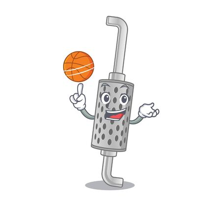 A mascot picture of exhaust pipe cartoon character playing basketball. Vector illustration