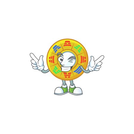 Funny face chinese circle feng shui cartoon character style with Wink eye Illusztráció