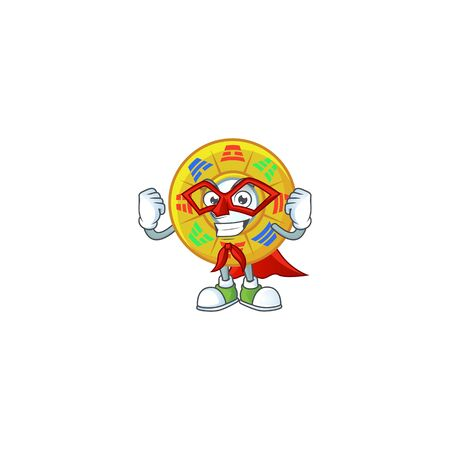 Smiley mascot of chinese circle feng shui dressed as a Super hero