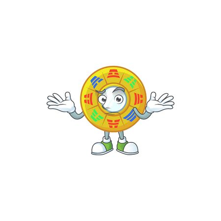 Super Funny Grinning chinese circle feng shui mascot cartoon style