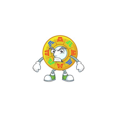cartoon character of chinese circle feng shui with angry face
