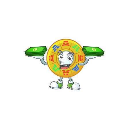 happy rich chinese circle feng shui character with money on hands. Vector illustration