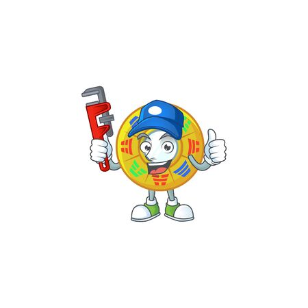 Cool Plumber chinese circle feng shui on mascot picture style. Vector illustration