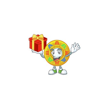 Happy face chinese circle feng shui cartoon character having a box of gift. Vector illustration