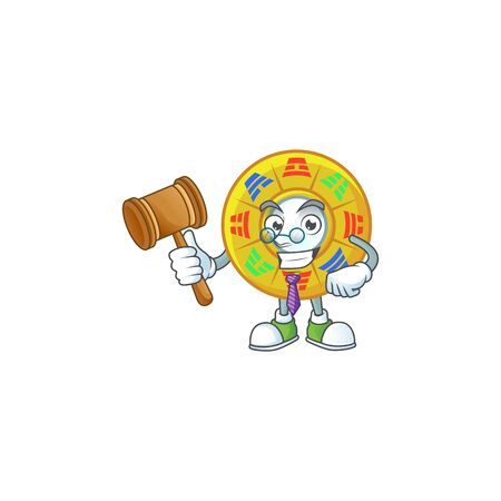 Smart Judge chinese circle feng shui in mascot cartoon character style. Vector illustration