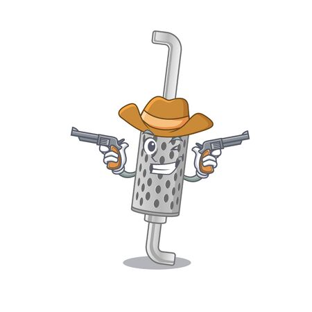 Exhaust pipe dressed as a Cowboy having guns. Vector illustration Illustration