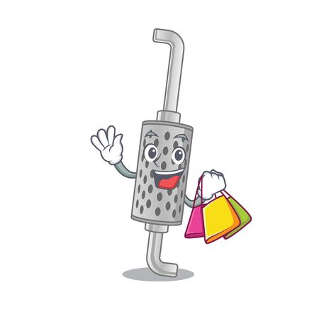 A happy rich exhaust pipe waving and holding Shopping bag. Vector illustration