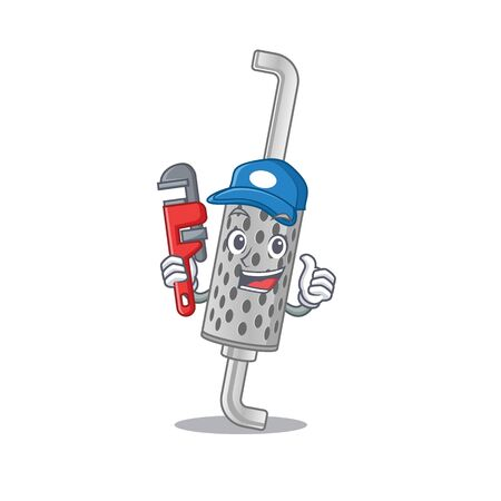 Cool Plumber exhaust pipe on mascot picture style Çizim