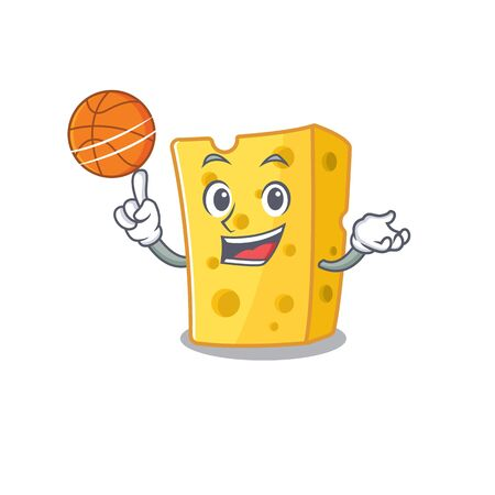 A mascot picture of emmental cheese cartoon character playing basketball. Vector illustration