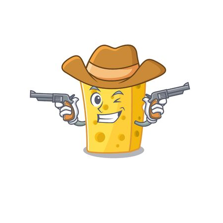 Emmental cheese dressed as a Cowboy having guns. Vector illustration