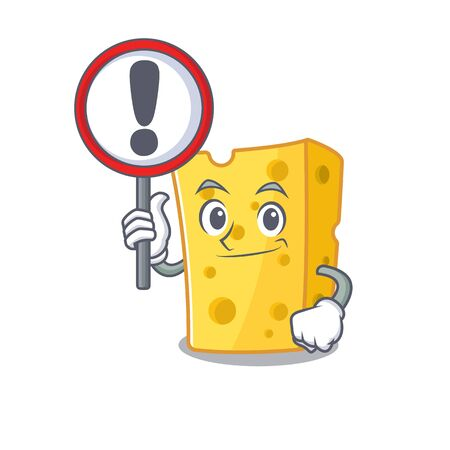 cool and funny emmental cheese raised up a Sign. Vector illustration
