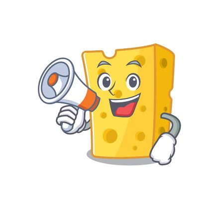An icon of emmental cheese having a megaphone. Vector illustration