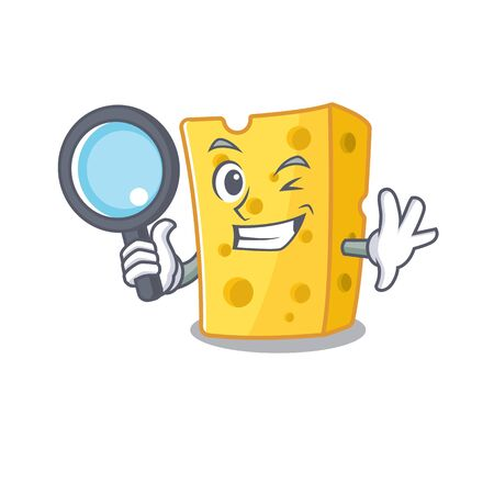 Cool and Smart emmental cheese Detective cartoon mascot style. Vector illustration Vettoriali