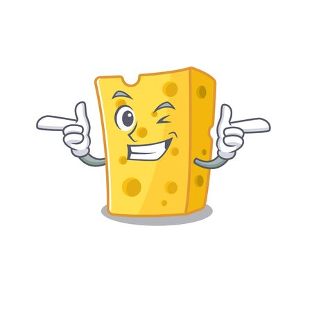 mascot cartoon design of emmental cheese with Wink eye. Vector illustration
