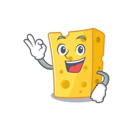 A picture of emmental cheese making an Okay gesture. Vector illustration Vectores