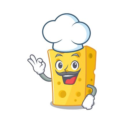 Emmental cheese cartoon character wearing costume of chef and white hat. Vector illustration