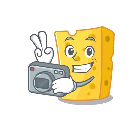 Cool Photographer emmental cheese character with a camera. Vector illustration