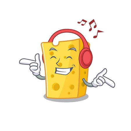 Listening music emmental cheese mascot cartoon character design. Vector illustration