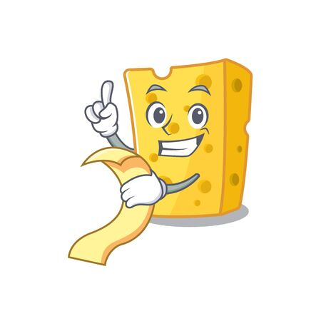 A funny cartoon character of emmental cheese with a menu. Vector illustration Illustration