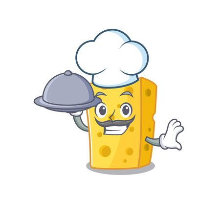 cartoon design of emmental cheese as a Chef having food on tray. Vector illustration