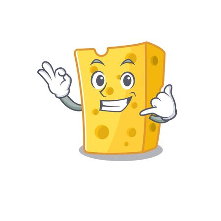 Call me funny emmental cheese mascot picture style. Vector illustration