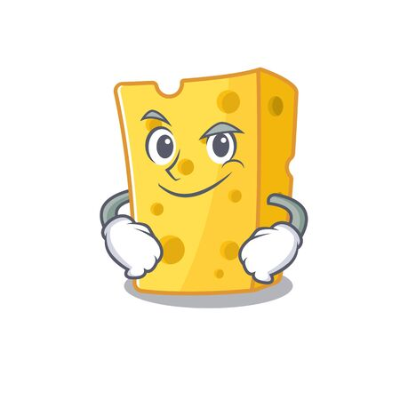 Cool emmental cheese mascot character with Smirking face. Vector illustration