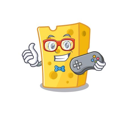 Smiley gamer emmental cheese cartoon mascot style. Vector illustration