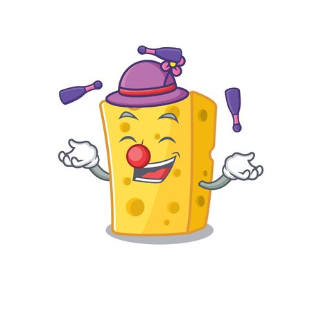 Smart emmental cheese cartoon character design playing Juggling. Vector illustration Çizim