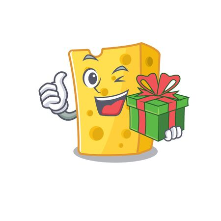 Smiley emmental cheese character with gift box. Vector illustration  イラスト・ベクター素材