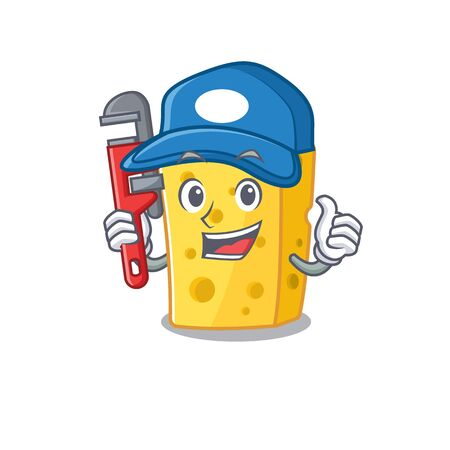 Cool Plumber emmental cheese on mascot picture style. Vector illustration