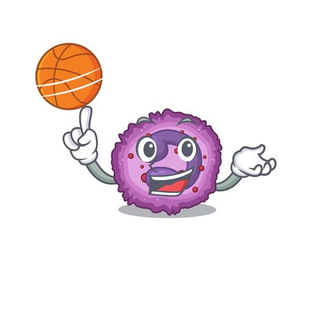 A mascot picture of eosinophil cell cartoon character playing basketball. Vector illustration
