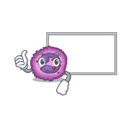 Thumbs up of eosinophil cell cartoon design with board. Vector illustration Vector Illustration
