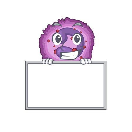 A cute picture of eosinophil cell grinning with board. Vector illustration Vector Illustration