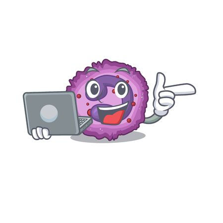 Smart character of eosinophil cell working with laptop. Vector illustration Vector Illustration