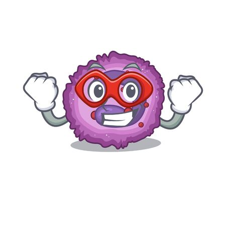 Smiley mascot of eosinophil cell dressed as a Super hero. Vector illustration