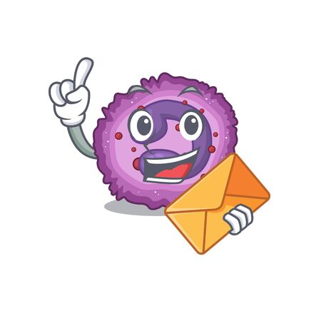 Cheerfully eosinophil cell mascot design with envelope. Vector illustration Vector Illustration